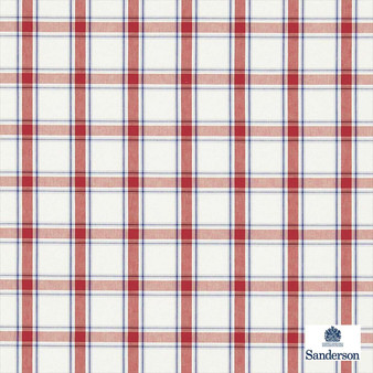 Sanderson Brighton 233871  | Curtain & Upholstery fabric - Red, Check, Farmhouse, Gingham, Natural Fibre, Washable, Domestic Use, Natural, Standard Width