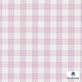 Sanderson Brighton 233873  | Curtain & Upholstery fabric - Check, Farmhouse, Gingham, Natural Fibre, Pink, Purple, Washable, Domestic Use, Natural, Standard Width
