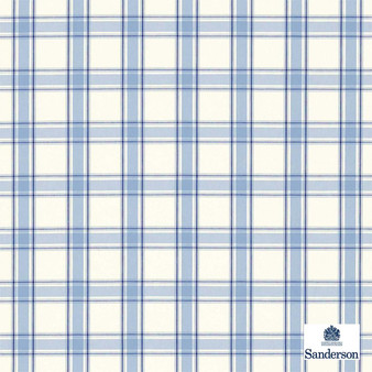 Sanderson Brighton 233875  | Curtain & Upholstery fabric - Washable, Blue, Check, Farmhouse, Gingham, Natural, Natural Fibre, Standard Width