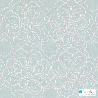 Duralee - 32395-19 - Aqua  | Curtain & Upholstery fabric - Blue, Fire Retardant, Floral, Garden, Linen and Linen Look, Natural Fibre, Dry Clean, Embroidery, Natural
