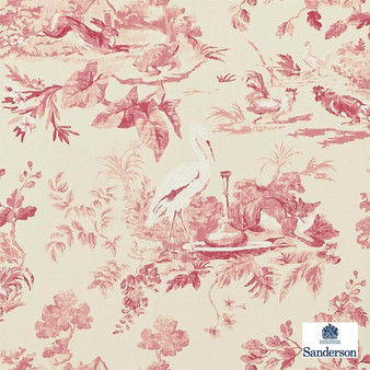Sanderson Aesops Fables DCAVAE101    Wallpaper, Wallcovering - Red, Floral, Garden, Kids, Children, Pink, Purple, Toile, Traditional, Animals, Animals - Fauna, Domestic Use