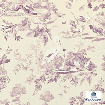 Sanderson Aesops Fables DCAVAE102    Wallpaper, Wallcovering - Floral, Garden, Kids, Children, Pink, Purple, Toile, Traditional, Animals, Animals - Fauna, Domestic Use, Birds