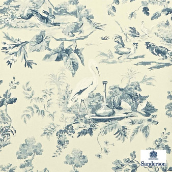 Sanderson Aesops Fables DCAVAE103    Wallpaper, Wallcovering - Beige, Floral, Garden, Kids, Children, Toile, Traditional, Animals, Animals - Fauna, Domestic Use, Birds