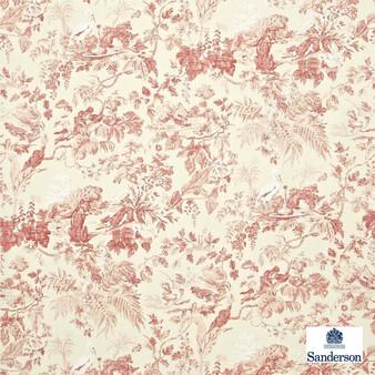 Sanderson Aesops Fables DCAVAE201    Curtain & Upholstery fabric - Red, Farmhouse, Floral, Garden, Natural Fibre, Pink, Purple, Toile, Traditional, Animals, Animals - Fauna