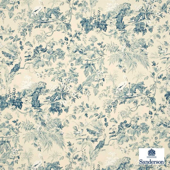 Sanderson Aesops Fables DCAVAE203    Curtain & Upholstery fabric - Blue, Farmhouse, Floral, Garden, Natural Fibre, Toile, Traditional, Animals, Animals - Fauna, Natural, Birds