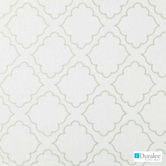 Duralee - 32708-619 - Seaglass  | Curtain & Upholstery fabric - Green, Dry Clean, Geometric, Embroidery, Quatrefoil, Fibre Blend, Standard Width