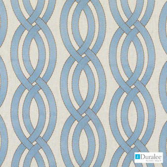 Duralee - 32779-11 - Turquoise  | Curtain & Upholstery fabric - Blue, Fibre Blends, Linen and Linen Look, Ogee, Dry Clean, Embroidery, Standard Width
