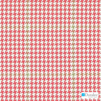 Duralee - 32795-138 - Rose/Green  | Curtain & Upholstery fabric - Red, Check, Natural Fibre, Dry Clean, Houndstooth, Natural, Standard Width