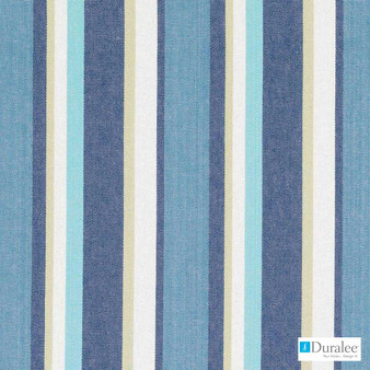 Duralee - 32804-339 - Caribbean  | Curtain & Upholstery fabric - Blue, Natural Fibre, Stripe, Dry Clean, Natural, Standard Width