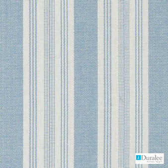 Duralee - 32805-11 - Turquoise  | Curtain & Upholstery fabric - Blue, Natural Fibre, Stripe, Dry Clean, Natural, Standard Width