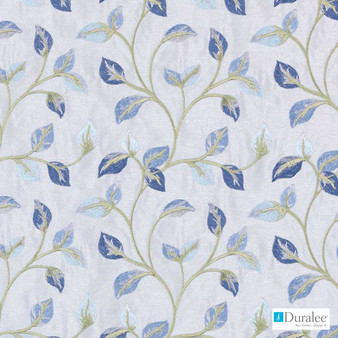 Duralee - 32817-59 - Sky Blue  | Curtain & Upholstery fabric - Blue, Floral, Garden, Synthetic, Dry Clean, Embroidery, Standard Width