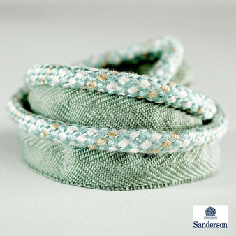 Sanderson Flanged Cord 232265    Upholstery Fabric - Washable, Green, Traditional, Trimmings, Flange Cord, Fibre Blend