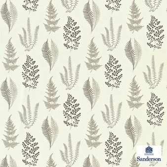 Sanderson Angel Ferns 221926  | Curtain Fabric - Grey, Floral, Garden, Natural Fibre, Domestic Use, Natural, Standard Width