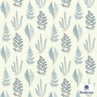 Sanderson Angel Ferns 221927  | Curtain Fabric - Blue, Floral, Garden, Natural Fibre, Domestic Use, Natural, Standard Width