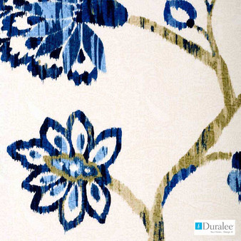 Duralee - 42344-54 - Sapphire  | Curtain & Upholstery fabric - Silver, Floral, Garden, Natural Fibre, Dry Clean, Natural, Print, Standard Width