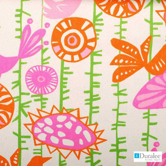 Duralee - 42388-138 - Rose/Green  | Curtain & Upholstery fabric - Gold,  Yellow, Silver, Floral, Garden, Kids, Children, Natural Fibre, Pink, Purple, Abstract, Animals, Print