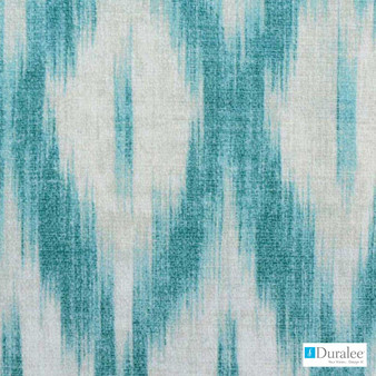 Duralee - 42420-339 - Caribbean  | Curtain & Upholstery fabric - Silver, Natural Fibre, Turquoise, Teal, Abstract, Diamond - Harlequin, Dry Clean, Natural, Print