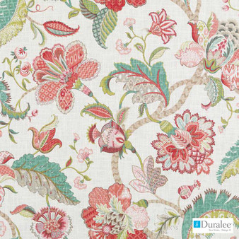 Duralee - 42424-138 - Rose/Green  | Curtain & Upholstery fabric - Burgundy, Red, Silver, Floral, Garden, Jacobean, Natural Fibre, Turquoise, Teal, Dry Clean, Natural, Print