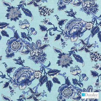 Duralee - 42428-157 - Chambray  | Curtain & Upholstery fabric - Blue, Fire Retardant, Silver, Fibre Blends, Floral, Garden, Linen and Linen Look, Dry Clean, Print, Food
