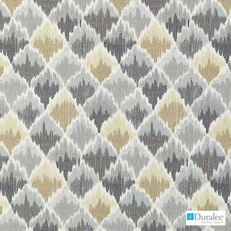 Duralee - 42441-296 - Pewter  | Curtain & Upholstery fabric - Beige, Grey, Silver, Natural Fibre, Dry Clean, Natural, Print, Standard Width