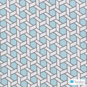 Duralee - 42446-260 - Aquamarine  | Curtain & Upholstery fabric - Blue, Silver, Natural Fibre, Turquoise, Teal, Abstract, Dry Clean, Lattice, Trellis, Natural, Print