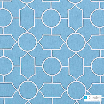 Duralee - 42471-11 - Turquoise    Curtain & Upholstery fabric - Blue, Silver, Geometric, Natural Fibre, Dots, Spots, Print