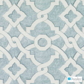 Duralee - 42473-619 - Seaglass  | Curtain & Upholstery fabric - Blue, Silver, Geometric, Natural Fibre, Turquoise, Teal