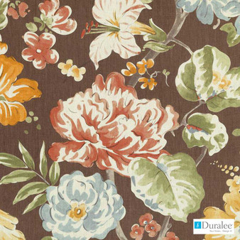 Duralee - 42482-684 - Terra/Sage  | Curtain & Upholstery fabric - Brown, Burgundy, Gold,  Yellow, Silver, Terracotta, Print