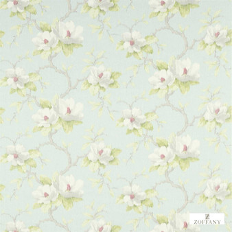 Zoffany Magnolia Bough 321447    Curtain & Upholstery fabric - Blue, Farmhouse, Floral, Garden, Natural Fibre, Domestic Use, Natural, Standard Width