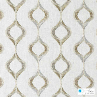 Duralee - Da61410-334 - Opal  | Curtain & Upholstery fabric - Beige, Grey, Silver, White, Fibre Blends, Midcentury, Ogee