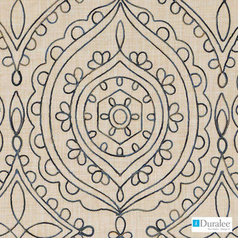 Duralee - Da61788-50 - Natural/Blue  | Curtain & Upholstery fabric - Beige, Medallion, Mediterranean, Synthetic, Dry Clean
