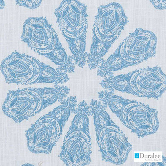 Duralee - De42509-11 - Turquoise    Curtain & Upholstery fabric - Blue, Turquoise, Teal, Floral, Garden, Botantical, Mediterranean, Paisley, Print