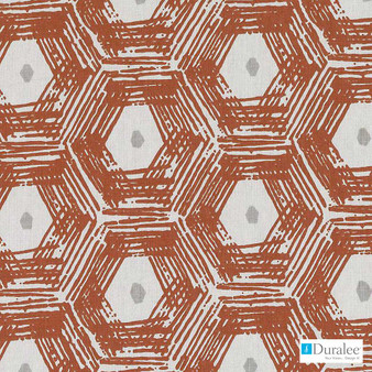 Duralee - De42537-31 - Coral  | Curtain & Upholstery fabric - Terracotta, Geometric, Linen and Linen Look, Natural Fibre