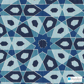 Duralee - De42545-11 - Turquoise  | Curtain & Upholstery fabric - Blue, Geometric, Medallion, Mediterranean, Abstract, Print