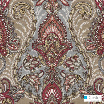 Duralee - De42570-132 - Autumn  | Curtain Fabric - Brown, Red, Linen and Linen Look, Natural Fibre, Paisley, Dry Clean