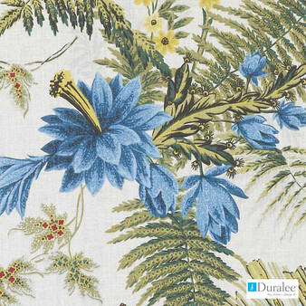 Duralee - De42578-73 - Red/Blue    Curtain Fabric - Blue, Gold,  Yellow, Floral, Garden, Linen and Linen Look, Dry Clean