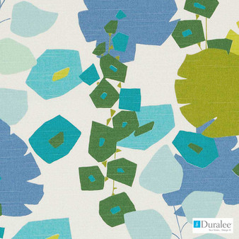 Duralee - Dp42637-72 - Blue/Green  | Upholstery Fabric - Blue, Floral, Garden, Midcentury, Natural Fibre, Turquoise, Teal