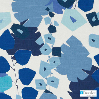 Duralee - Dp42637-563 - Lapis  | Upholstery Fabric - Blue, Floral, Garden, Midcentury, Natural Fibre, Turquoise, Teal, Print