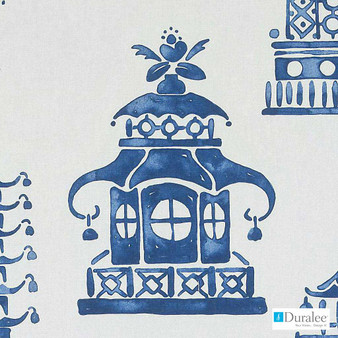 Duralee - Dp61316-207 - Cobalt  | Curtain & Upholstery fabric - Blue, Asian, Dry Clean, Chinoiserie, Chinoise, Natural, Print, Natural Fibre