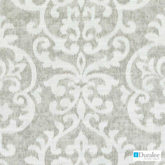 Duralee - Dp61336-220 - Oatmeal  | Upholstery Fabric - Beige, Silver, White, Damask, Linen and Linen Look, Medallion, Print