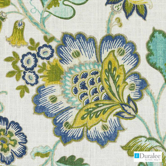 Duralee - Dp61346-246 - Aegean  | Upholstery Fabric - Fire Retardant, Linen/Linen Look, Gold, Yellow, Green, Turquoise, Teal, Traditional, Jacobean