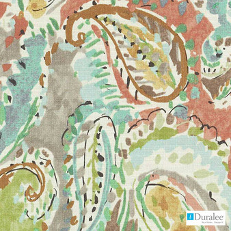 Duralee - Dp61510-138 - Rose/Green  | Curtain Fabric - Green, Terracotta, Paisley, Dry Clean, Abstract, Natural, Print, Natural Fibre, Standard Width