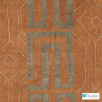 Duralee - Dp61641-219 - Cinnamon  | Curtain Fabric - Terracotta, Geometric, Natural Fibre, Stripe, Diamond - Harlequin