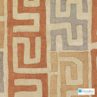 Duralee - Dp61645-107 - Terracotta  | Curtain Fabric - Terracotta, Geometric, Natural Fibre, Stripe, Dry Clean, Natural