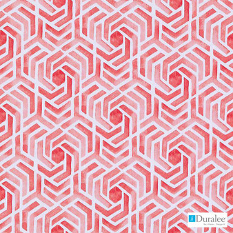 Duralee - Dp61710-93 - Flamingo  | Curtain Fabric - Red, Dry Clean, Geometric, Abstract, Natural, Print, Natural Fibre, Standard Width