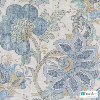 Duralee - Dp61719-157 - Chambray  | Curtain Fabric - Fire Retardant, Linen/Linen Look, Blue, Turquoise, Teal, Floral, Garden, Botantical, Dry Clean
