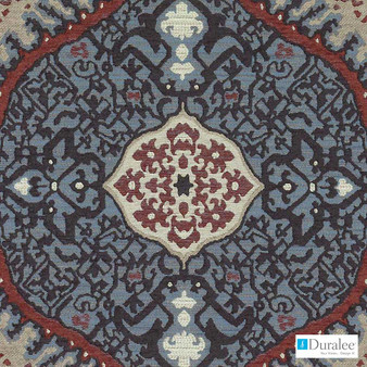 Duralee - Du16107-73 - Red/Blue    Upholstery Fabric - Blue, Red, Kilim, Medallion, Mediterranean, Synthetic, Backing