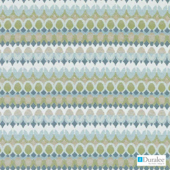 Duralee - Du16206-246 - Aegean  | Upholstery Fabric - Fire Retardant, Green, Turquoise, Teal, Stripe, Dry Clean, Geometric, Circles, Backing