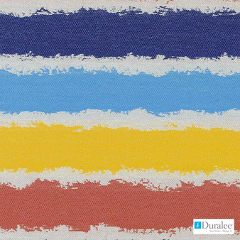 Duralee - Dw16050-73 - Red/Blue  | Upholstery Fabric - Fire Retardant, Blue, Gold, Yellow, Mid Century Modern, Stripe, Outdoor Use, Texture