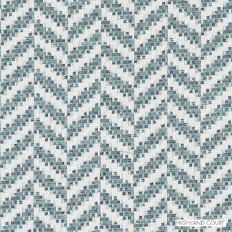 Highland Court - Hu15843-339 - Rebozo - Caribbean | Upholstery Fabric - Fire Retardant, Linen/Linen Look, Blue, Turquoise, Teal, Stripe, Dry Clean